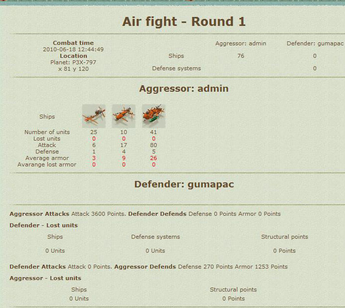 Battle report